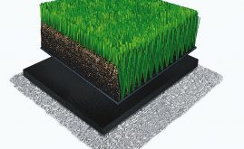 A-Turf Premier XP 3D rendering with rubber & sand infill and ShockPad underneath.